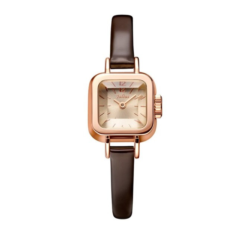 Đồng hồ nữ Julius JA-496C dây da màu nâu cực tây
