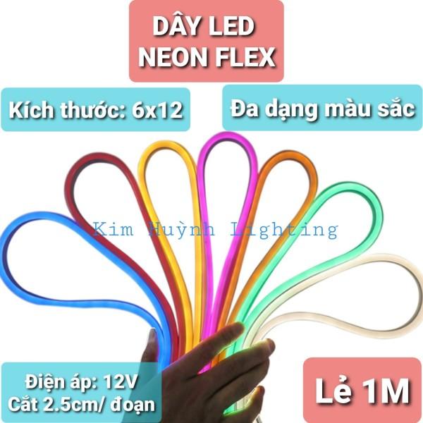 Bảng giá Dây đèn led neon flex (6x12) DC 12V, không thấm nước sử dụng ngoài trời (lẻ mét chưa bao gồm nguồn)