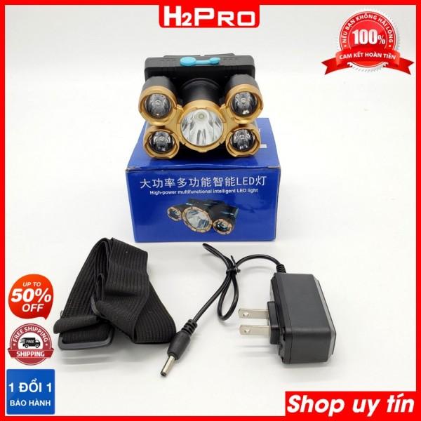 Bảng giá Đèn pin đội đầu 5 bóng siêu sáng H2PRO, đèn đội đầu siêu sáng giá rẻ