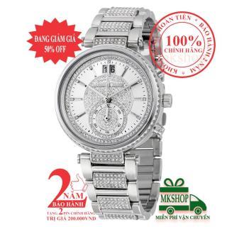 Đồng hồ nữ Michael Kors MK6281, Vỏ, mặt và dây màu Bạc (Silver), lịch ngày, khảm đá pha lê Swarovski, size 39mm - Item no MK6281 thumbnail