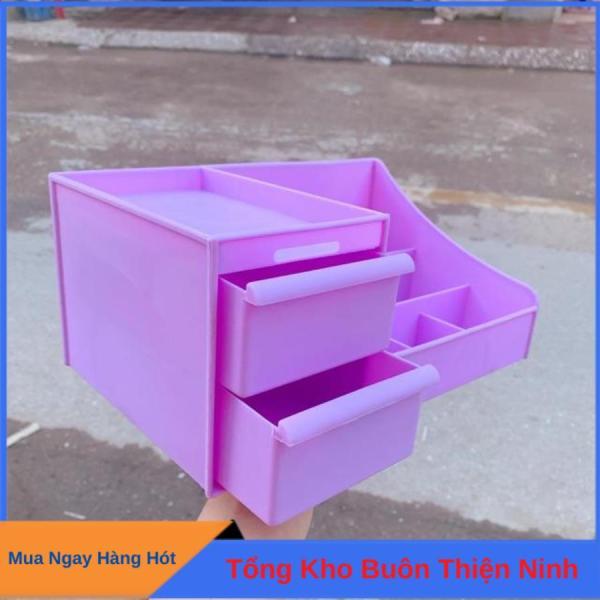 Kệ đựng mỹ phẩm đa năng bằng nhựa 5 màu 2 tầng nhiều ô cao cấp