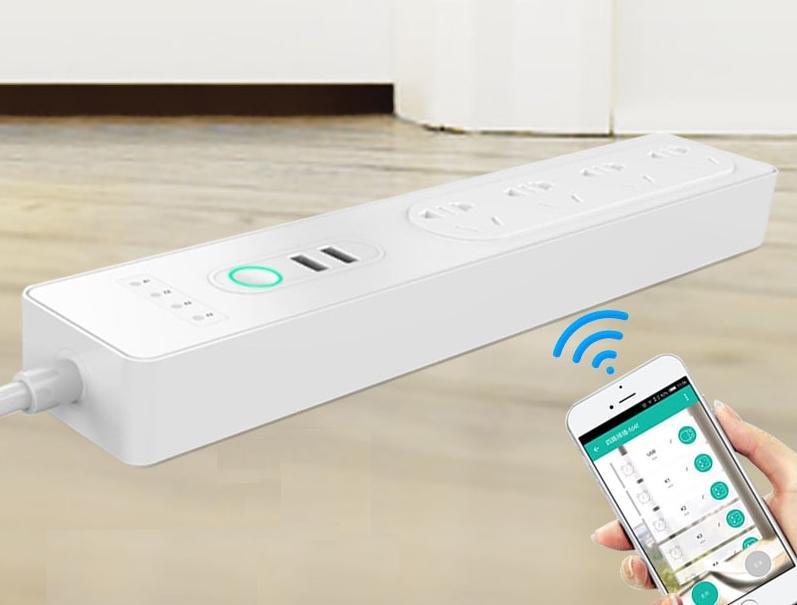 Ổ Cắm Điện Wifi Energreen Tắt Mở Qua Điện Thoại Ứng Dụng Smart Life - 4 Phích 2 Cổng USB