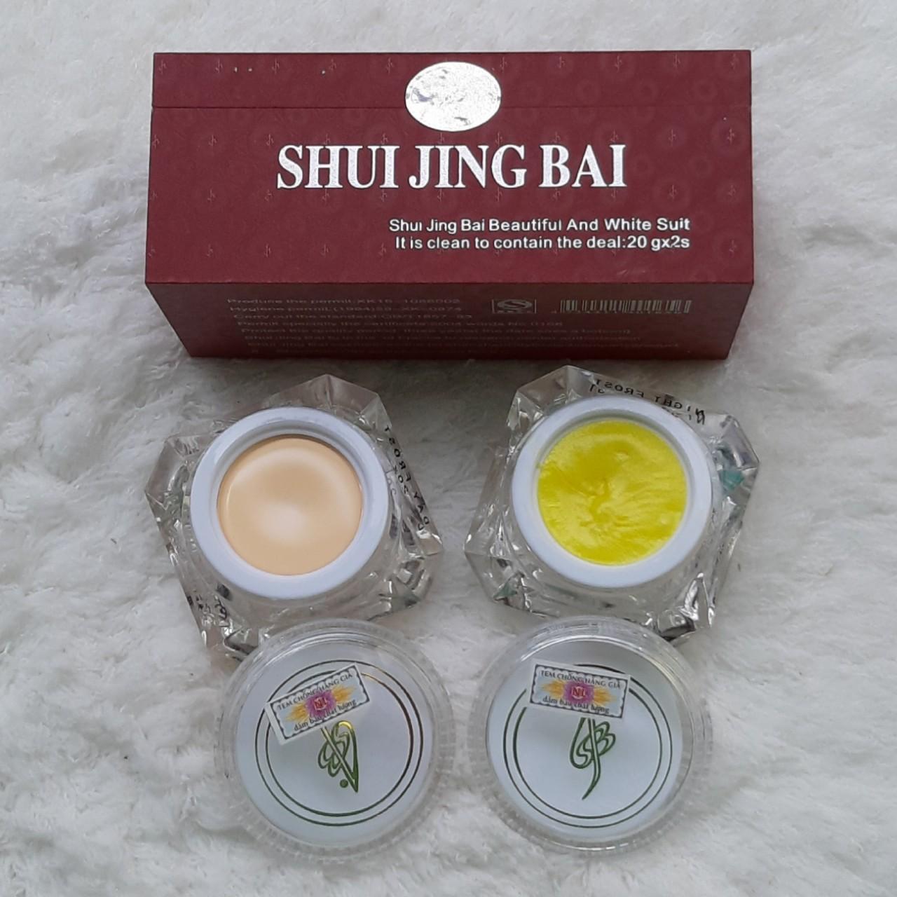 Combo 02 hộp Kem Dưỡng Trắng  Khử Nốt Trắng dẹp Thủy Tinh Bạch (Ngày & Đêm) SHUI JING BAI 20G nhập khẩu