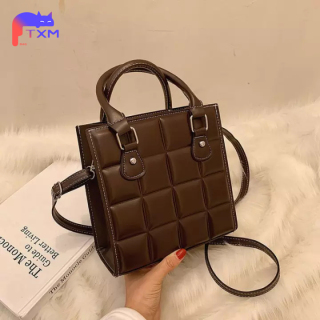 High Quanlity Women Bag PU Leather Shoulder Bag - Mini Square Bag Small Grid Handbag Women Casual Messenger Bag Solid Color thumbnail