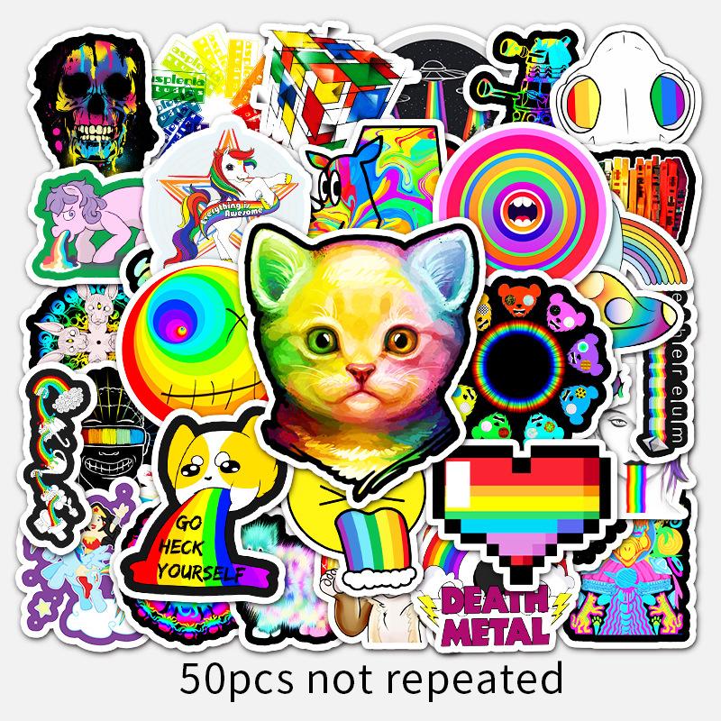 50TờinsGió Màu Màu Sắc Hoạt Hình Graffiti Dán Xe Tay Ga Laptop Máy Tính Xe Ô TôDIYMiếng Dán Trang Trí Dán Xe Máy thumbnail