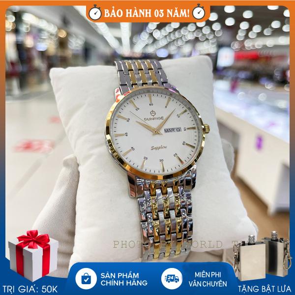 Đồng hồ nam Sunrise DM1216SWA (DM780SWA), full hộp, thẻ bảo hành hãng, kính Sapphire chống xước, chống nước, dây thép 316L