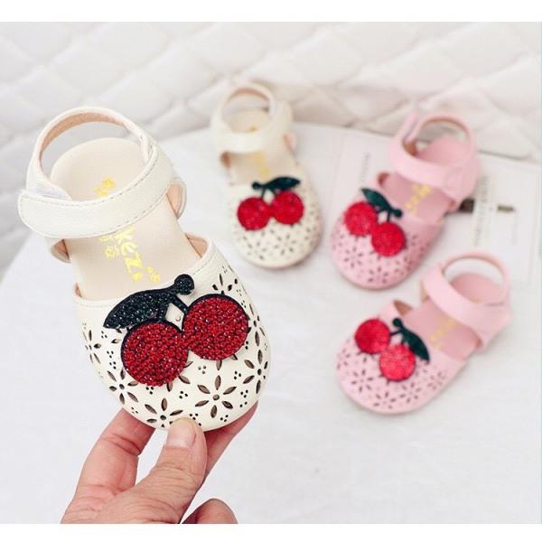 Giá bán A611# GIẦY DÉP Sandal lỗ đính cherry đá cho bé gái - giày quảng châu mẫu mới MÃ A611#