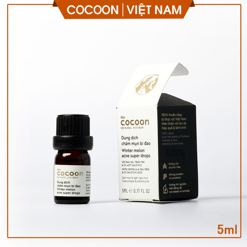 Dung dịch chấm mụn bí đao, loại bỏ mụn ẩn, mụn mủ, mờ vết thâm cocoon viet nam (winter melon acne super drops) 5ml giá rẻ