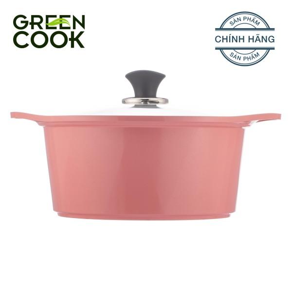 Nồi đúc ceramic vân đá chống dính đáy từ 20cm Green Cook GCS02-20IH