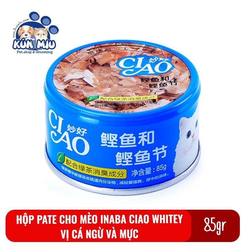 Thức ăn Pate cho mèo Inaba Ciao Whitey hộp 85g Vị cá ngừ và mực