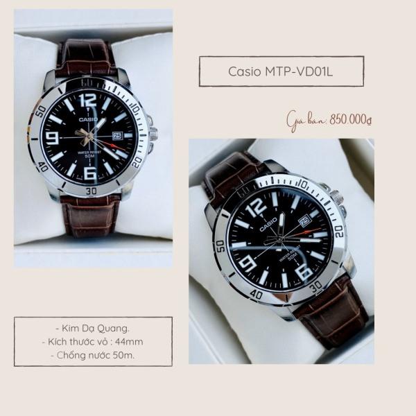 Đồng Hồ Nam Mặt Kim Dây Da Chính Hãng Casio MTP-VD01L Minh Minh Watch