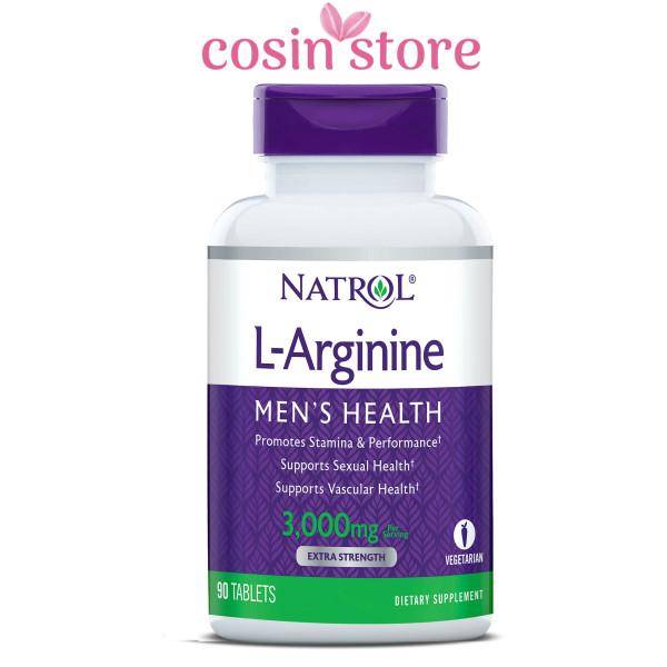Viên uống Natrol L-Arginine Mens Health 3,000mg per serving Extra Strength 90 viên - tăng cường sức khỏe nam giới cao cấp