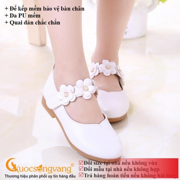 Giày bé gái quai dán giày búp bê bé gái quai hoa màu trắng GLG018 giá rẻ