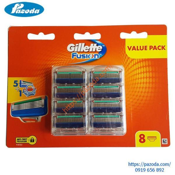 Hộp 8 lưỡi dao cạo râu Gillette Fusion( đầu cạo 5 lưỡi kép) nhập khẩu