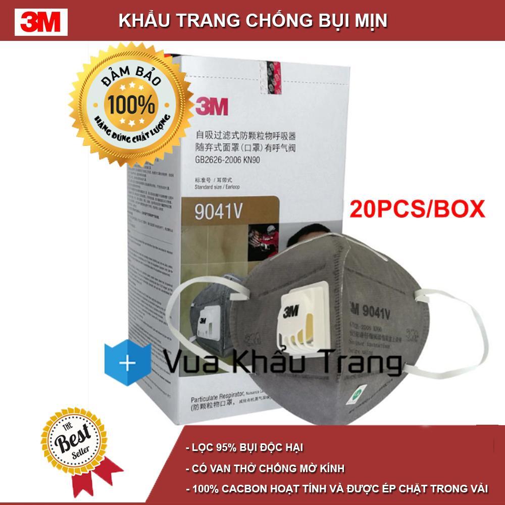 1 hộp 20 cái khẩu trang than hoạt tính 9041V có đệm giúp êm mũi và có van 1 chiều lọc mùi hôi, lọc khói độc, kháng khuẩn, chống bụi siêu mịn PM2.5