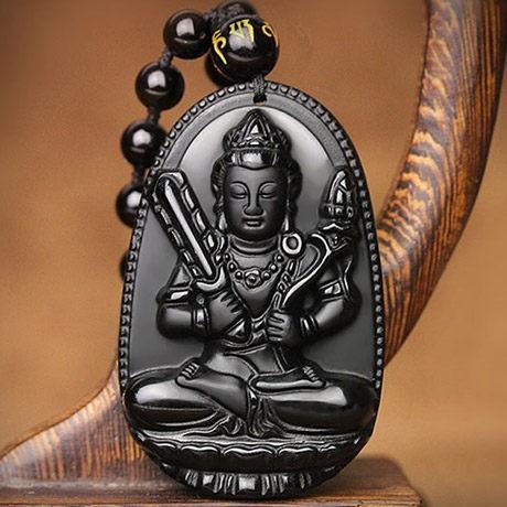 (SALE KHỦNG ) Vòng cổ mặt Phật HƯ KHÔNG TẠNG BỒ TÁT - ĐÁ TECTIT ĐEN - TUỔI SỬU VÀ DẦN
