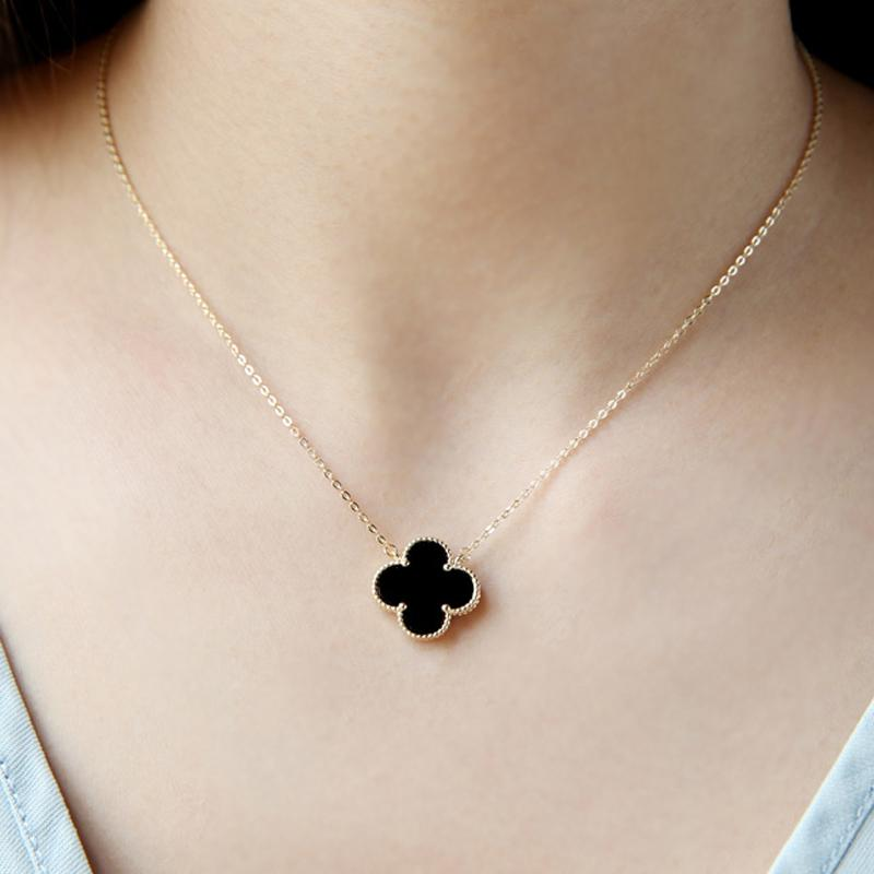 925 Sterling Necklace Female Choker Female Four Leaf Clover Pendant Japanese Korean Fashion Parts Clover Necklace