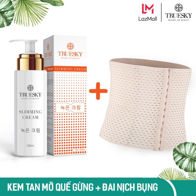Bộ sản phẩm tan mỡ bụng Truesky gồm 1 kem tan mỡ bụng quế gừng 100ml & 1 đai nịch bụng quấn nóng cao cấp giá rẻ