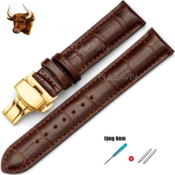 Nơi bán (size 20mm) Dây da bò thật khóa bướm màu vàng đồng hồ đeo tay