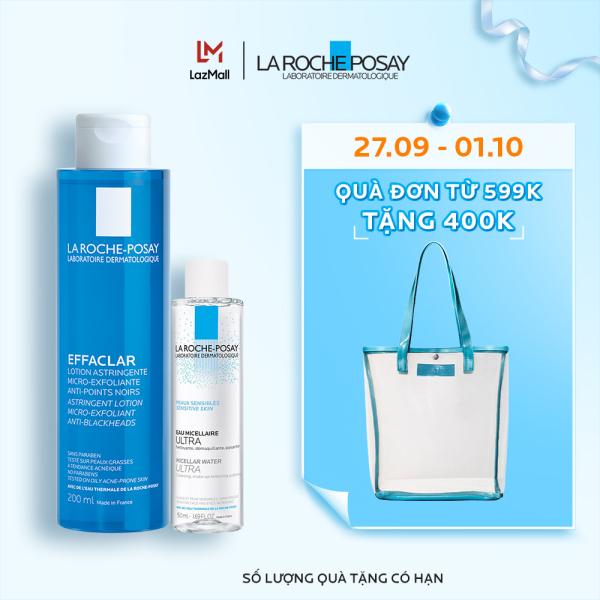 Bộ sản phẩm nước cân bằng giúp se khít lỗ chân lông và làm sạch sâu La Roche-Posay Effaclar Toner 200ml nhập khẩu