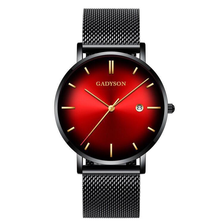 Nơi bán Đồng hồ nam GADYSON dây thép mành có lịch ngày mặt màu Neol (vàng nâu, đỏ, xanh dương, xanh lá) cao cấp GA010