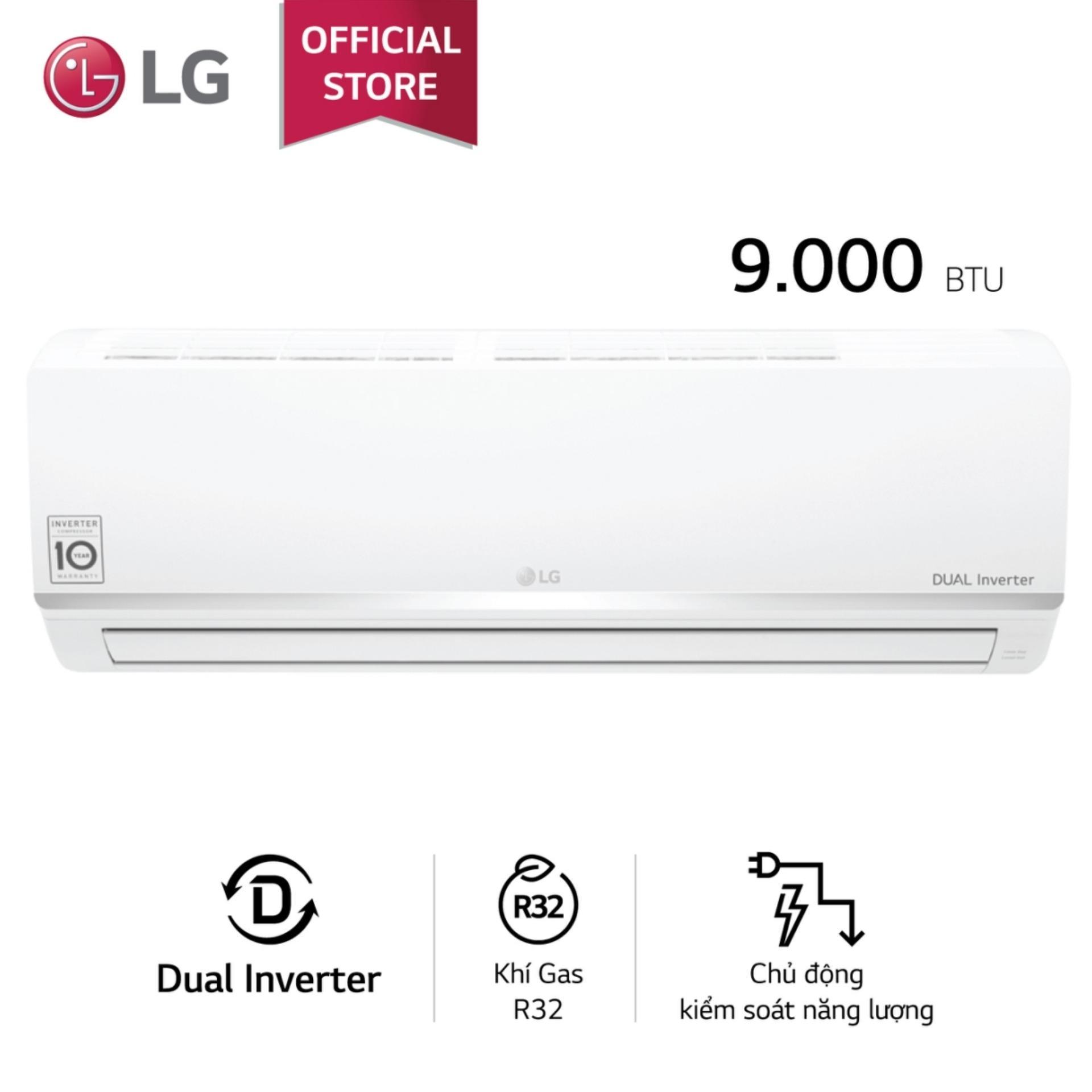 Mã Ưu Đãi Khi Mua Máy Lạnh LG Inverter V10ENW 1HP (Trắng) Tiết Kiệm điện, Jet-Cool Làm Lạnh Nhanh, Chế độ Vận Hành Khi Ngủ, Chức Năng Tự Làm Sạch  - Bảo Hành 2 Năm - Phân Phối Chính Hãng