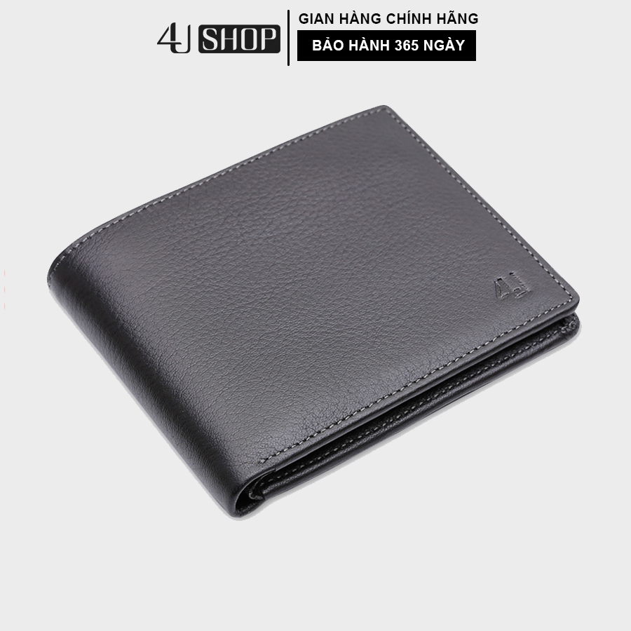 Bóp ví nam da bò thật 4U cao cấp, có nhiều ngăn đựng tiền lịch lãm F111 (đen - nâu)