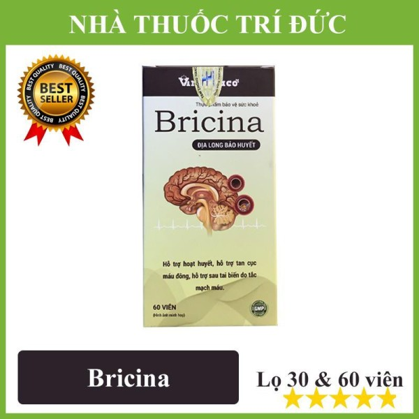 BỔ NÃO BRICINA – Địa Long bảo huyết hỗ trợ tan cục máu đông, hỗ trợ sau tai biến do tắc mạch máu