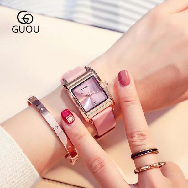 Đồng hồ nữ GUOU 8089 dây da mặt vuông sang trọng siêu đẹp bán chạy