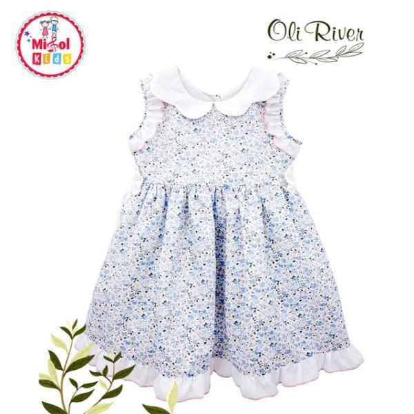 Đầm bé gái váy cho bé gái Oliriver xanh hoa nhí 2-6 tuổi cổ sen trắng nơ eo  cực xinh - Misolkids by huong274