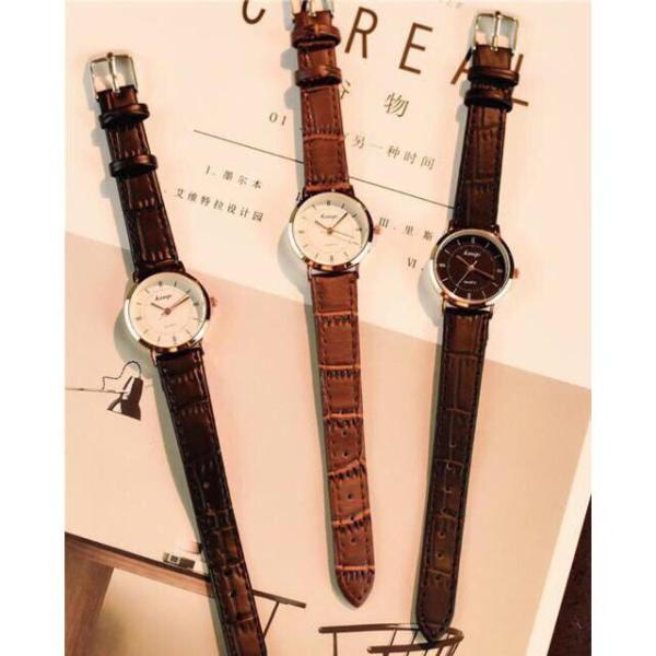 Đồng hồ thời trang nữ Kasigi dây da viền bạc cực đẹp