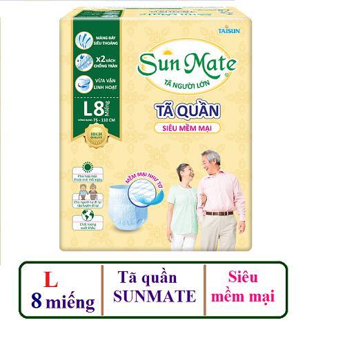 Tã Quần Sunmate Siêu Mềm Mại L8 _8 Miếng nhập khẩu