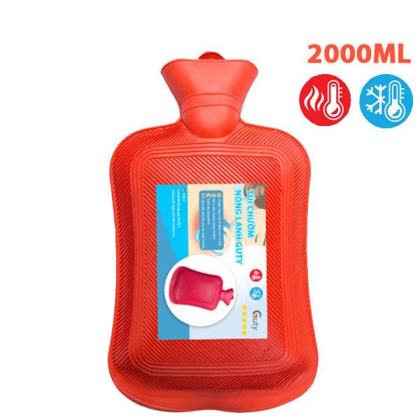 Túi chườm nóng lạnh cao su Guty, túi giữ nhiệt chườm đá đa năng giúp giảm đau bụng kinh, đau lưng, hông, đau do chấn thương, sưởi ấm, giảm sốt - Dung tích 2 lít - Guty Smart