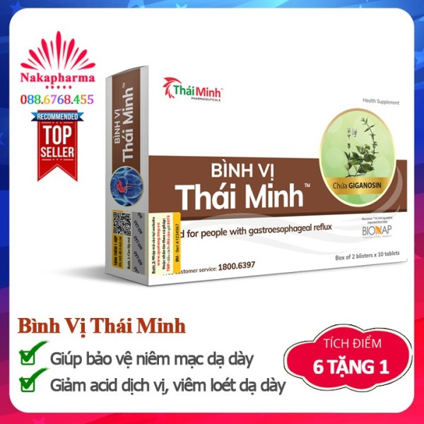 ✅ [6 TẶNG 1] Bình Vị Thái Minh - Dùng cho người trào ngược dạ dày, hỗ trợ cải thiện và giảm thiểu biểu hiện viêm loét dạ dày