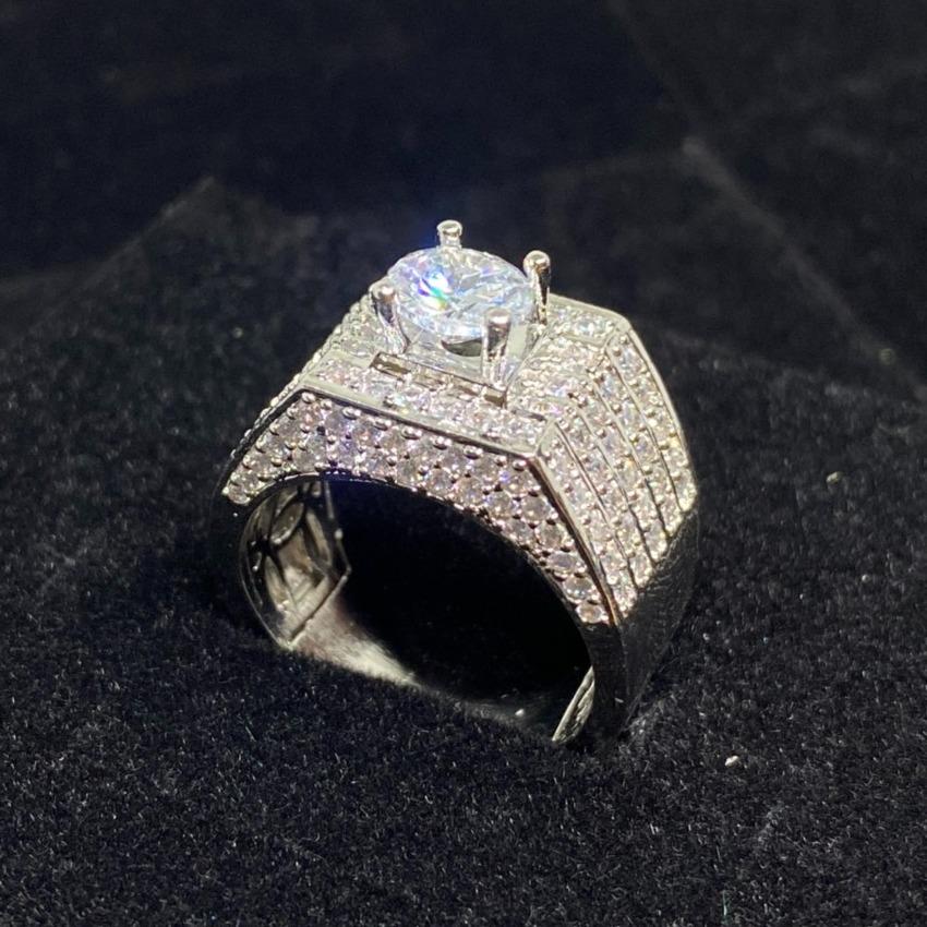 Nhẫn nam bạch kim đính đá cao cấp - N6868 Juri shop - Giống Thật 99% - Chất liệu Bạc 925 Bền Màu Vĩnh Viễn Không Đen - Dùng Đi Tiệc