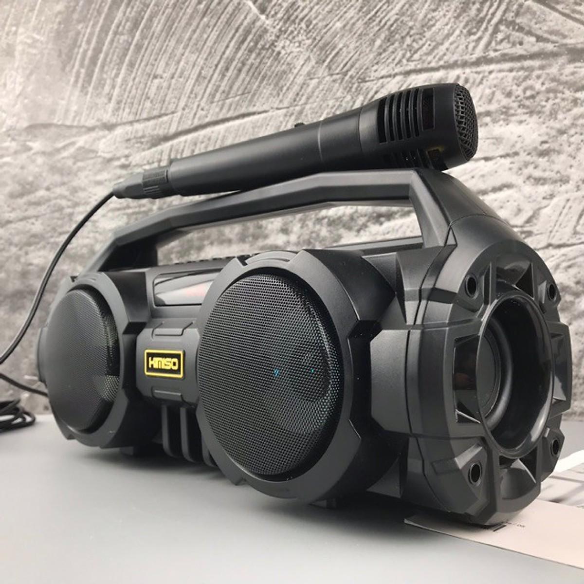 Loa Karaoke Bluetooth Xách Tay KM-S1 (Đen) Tặng Kèm 1 Mic Hát Có Dây Cắm Trực Tiếp, Bass Không Dây, Đèn Led Sống Động - GD195