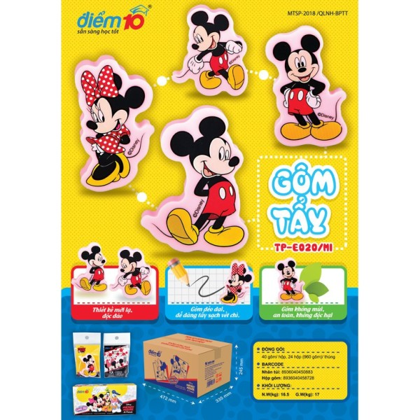 Mua Gôm/tẩy 3d nhân vật Mickey Disney TP-E020/mi (vỉ 1 cục) cam kết hàng đúng mô tả chất lượng đảm bảo không chứa hóa chất độc hại an toàn cho trẻ em