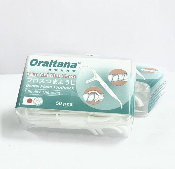 Tăm chỉ nha khoa Oraltana hộp 50 cái, tăm xỉa răng nha khoa y tế chất lượng cao, loại trừ các mảng bám - 1 Hộp giá rẻ