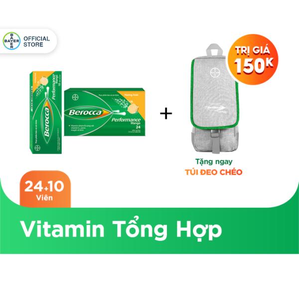 Bộ 2 Hộp Viên Sủi Bổ Sung Vitamin Berocca Performance Mango 10 Viên/Hộp + 24 Viên/Hộp + Tặng 1 Túi Đeo Chéo Berocca