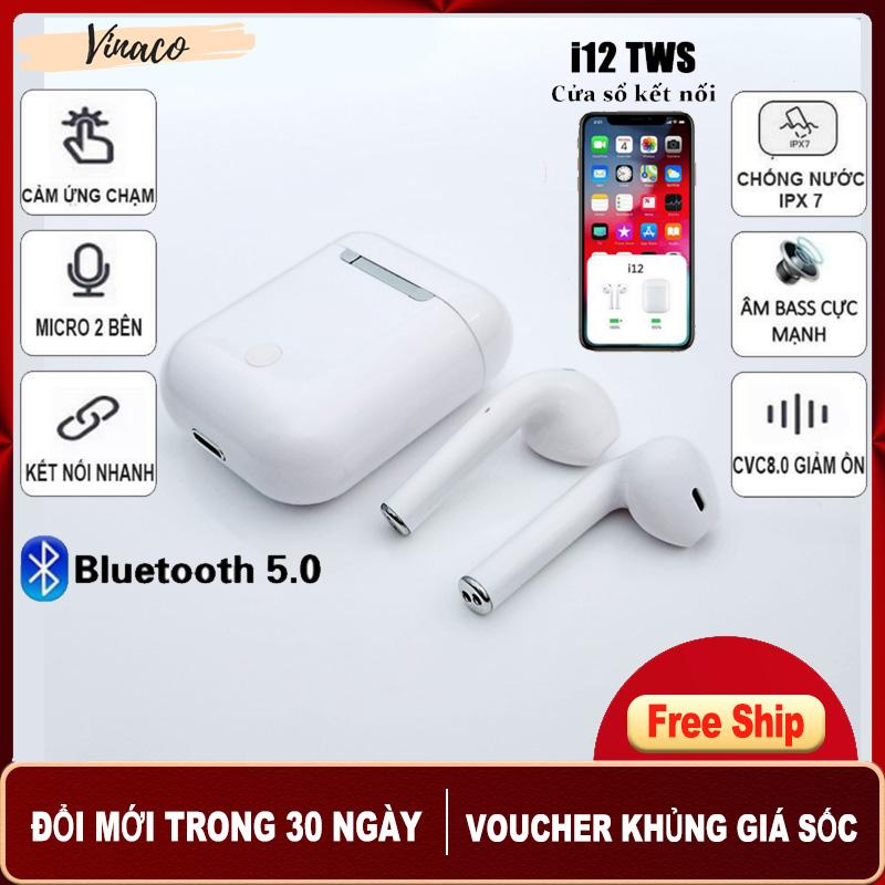 [HÀNG XỊN] Tai Nghe Bluetooth 5.0 i12 TWS [CẢM ỨNG VÂN TAY] VINACO - Màu Trắng Kết nối Bluetooth 5.0 vô cùng ổn định, 2 tai tự kết nối với nhau khi lấy ra từ dock sạc