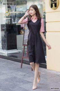 Đầm sơmi phối cổ tay hồng BEMINE MT1050 thumbnail
