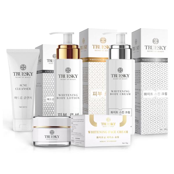 Bộ Truesky VIP03 gồm 1 ủ trắng body 100ml & 1 dưỡng trắng body 100ml & 1 dưỡng trắng da mặt 10g & 1 sữa rửa mặt 60ml cao cấp