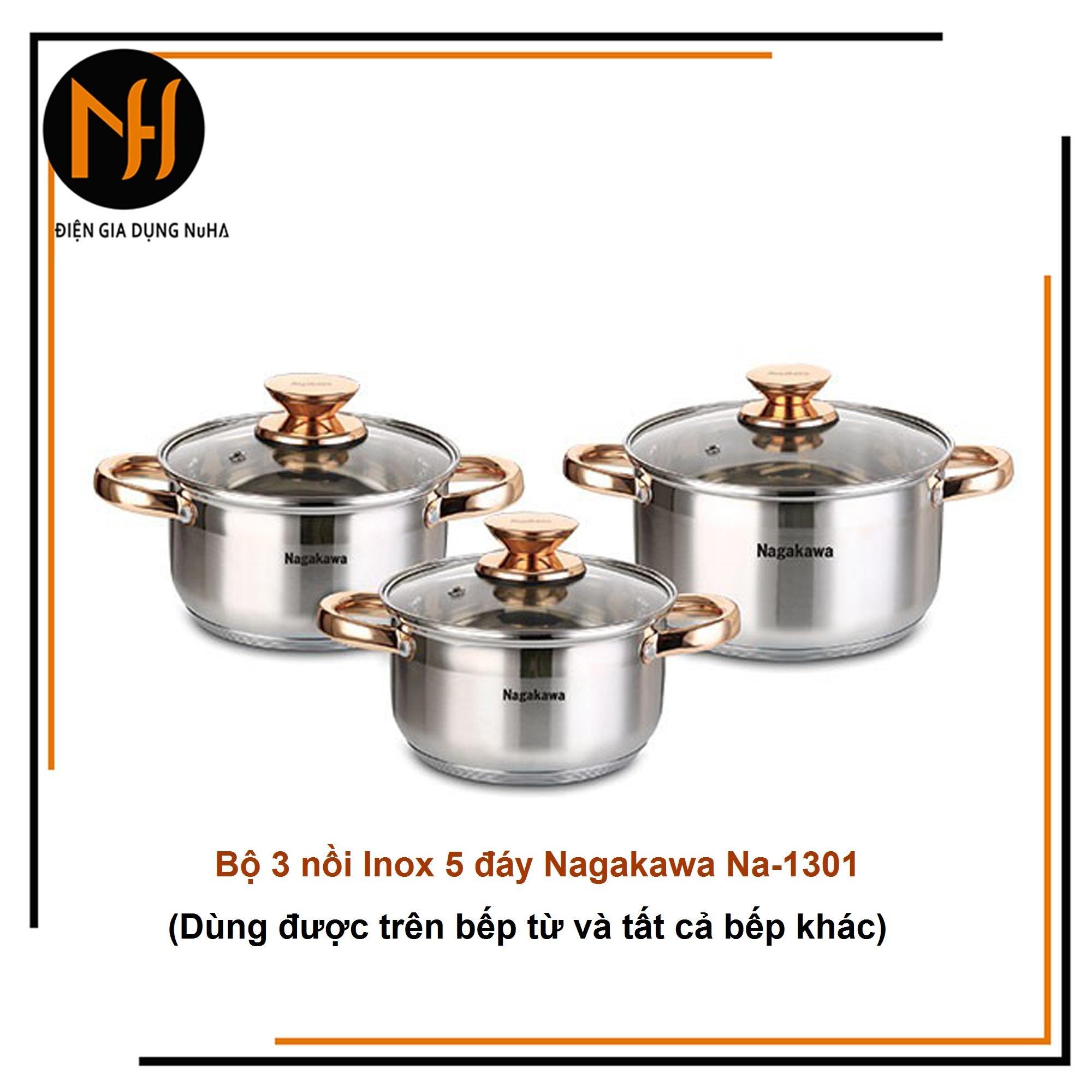 Bộ nồi inox 5 đáy từ Nagakawa NAG1301 quai núm màu vàng gồm 3 chiếc (16-20-24cm) sử dụng được trên bếp điện từ