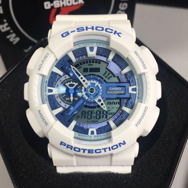 Đồng hồ nam G-Shock GA-110WB-7A REP 11 Trắng mặt xanh dương bảo hành 6 tháng siêu chống nước + Tặng kèm pin dự phòng + PHỐ ĐỒNG HỒ bán chạy