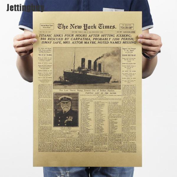 Jettingbuy Áp Phích Thanh Giấy Kraft Tờ New York Times Miếng Dán Tường Áp Phích Thời Khắc Lịch Sử Cổ Điển