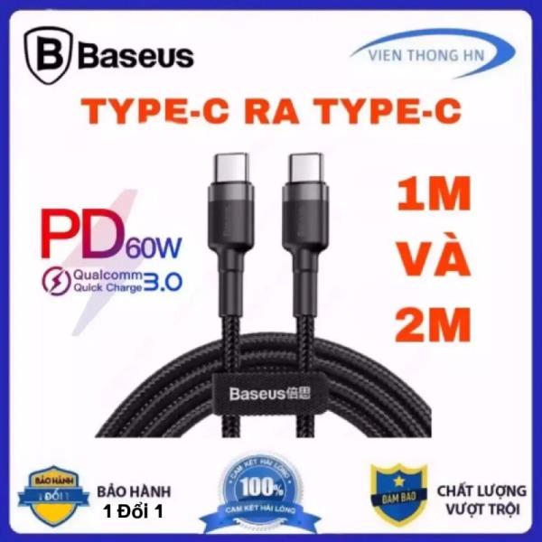 Cáp sạc 2 đầu type c sang type c 3.1 gen 2 Baseus dài 1m và 2m - dây sạc nhanh type c to type c hỗ trợ quick charge PD 60W suất hình ảnh 4k cho ipad macbook samsung andoird vooc  ...vv