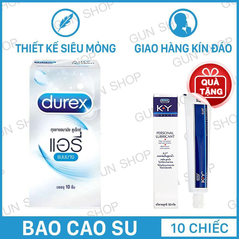 Bao Cao Su (10 chiếc) Thái Lan Durex Invisible Siêu mỏng + Tặng Gel bôi trơn (50ml) Durex KY gốc nước - Toro nhập khẩu