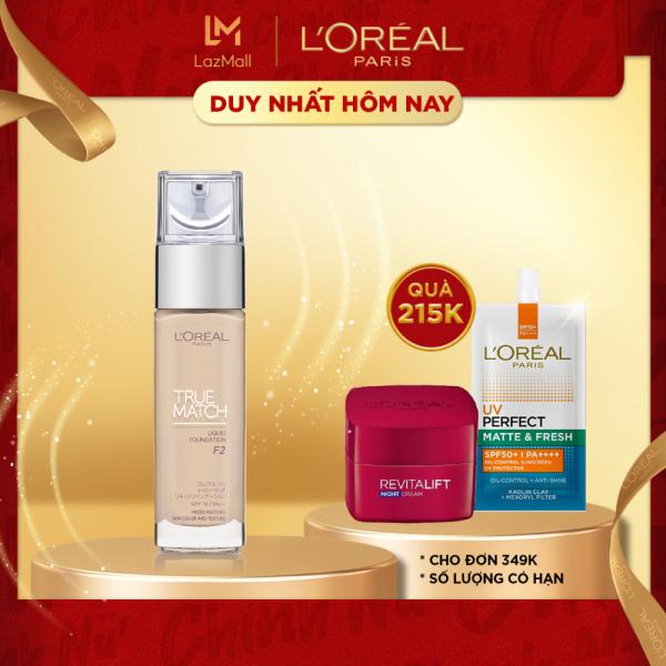 Kem nền mịn nhẹ dưỡng da dạng lỏng LOreal Paris True match Liquid Foundation 30ml