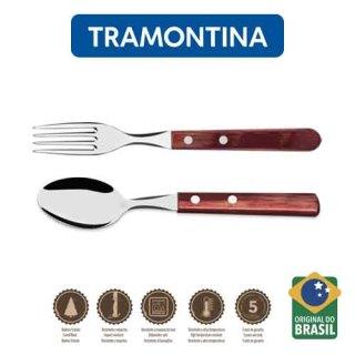 Bộ Muỗng Nĩa Ăn Cán Gỗ Tramontina Polywood 9.8cm thumbnail