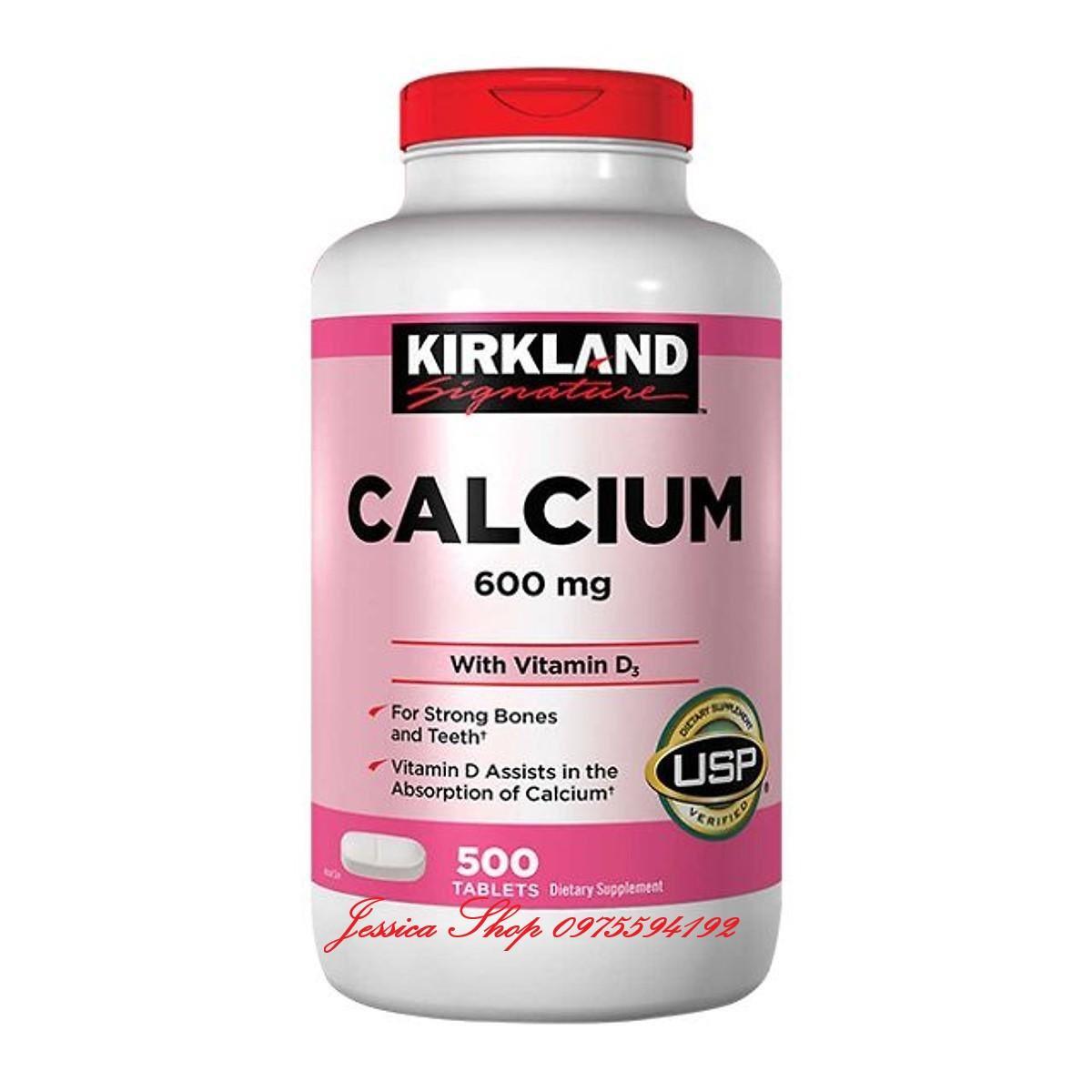Viên uống bổ sung Canxi Kirkland Calcium 600mg + D3 - Hộp 500 viên của Mỹ